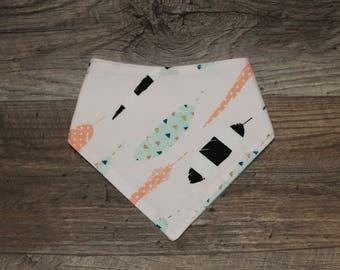 Bandana Bib | Feather | Tribal | Whimsical | Bibdana | Teething | Baby | Drool Bib | Flowers | Perfect Gift | Handmade in Canada
