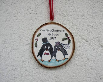 Wedding Couple Ornament, Our First Christmas Ornament, Penguin Couple, Newlywed Ornament, Wedding Gift, Mr and Mrs Ornament, Rustic Decor