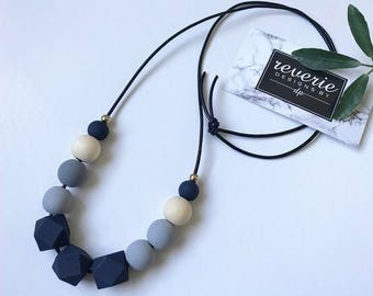 Wooden Bead Necklace - Geometric Necklace - Long Necklace