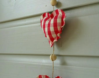 Red plaid fabric hearts Garland