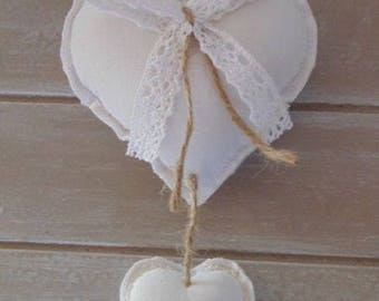 White hanging fabric heart lace shabby