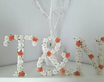 Floral initials, floral letter, wedding table decorations,  wedding top table, floral initials, nursery decor, rose flower letters