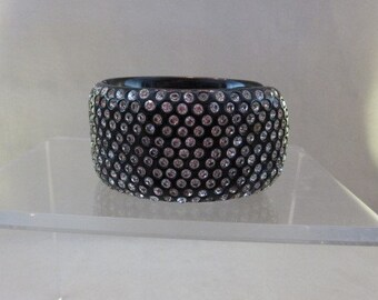 Vintage Wide Hinged Rhinestone Thermoplastic Clamper Bangle Bracelet