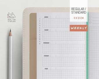 Traveler's Notebook Insert - Weekly planner insert - Midori Regular Refill - Grid Page - week on 2 pages