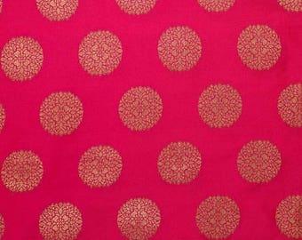 10% Off On Half Yard of Light Maroon and Golden Circular Pattern Brocade Silk Fabric, Indian Silk Fabric, Brocade Fabric