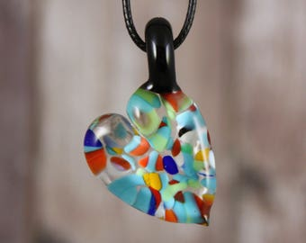 Heart Necklace, Heart Pendant, Glass Heart Pendant, Glass Heart Necklace, Love Necklace, Heart Jewelry, Gifts for her, Glass Heart, Heart