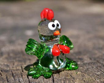 Glass chicken rooster new year  2017 gift animal collectible figurine rooster hen cock in glass gift child girl gift Chinese New Year gift