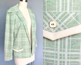 spright / 1960s sage green and white plaid blazer jacket / medium