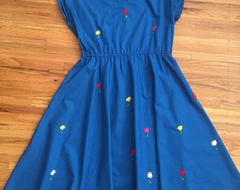1980's embroidered fit and flare dress