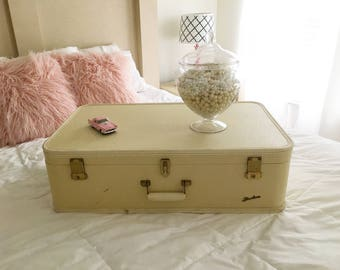 Vintage Starline cream suitcase! Stackable shabby chic for decor or travel! It will travel to NYC for an art show while we wait on a buyer!!