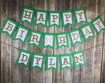 Personalized Happy Birthday Banner, Happy Birthday Green Mint Gold Banner, Birthday Banner, Birthday Decoration