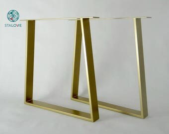 Steel Dining Table Legs. Modern Metal Kitchen Table Legs. Industrial Table.  Gold Table