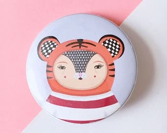1.5 Inch - Button Badge - Geometric Tiger - Blue - Pin