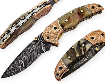 100% handmade Damascus steel with special handle Liner Lock pocket folding knife/pliant Damas /Damaskus Falten 4008