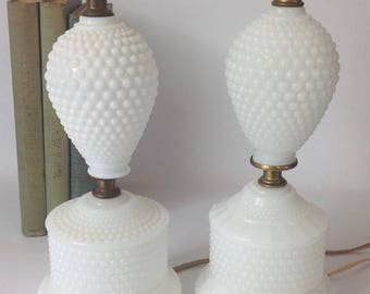 Pair of Vintage Milkglass Lamps Hobnail Table/Boudoir Shabby Chic Cottage Style