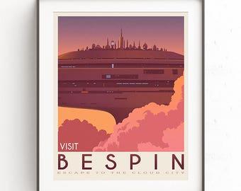 Bespin poster. Starwars retro travel. Cloud city. Illustration. Jedi return. Boba fett art. Movie poster. Vacation poster. Inspired vintage