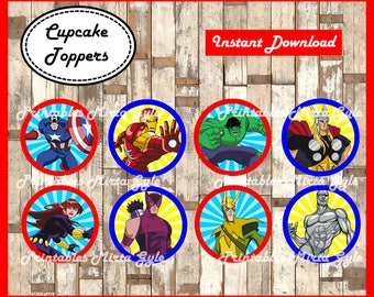 Avengers cupcakes toppers, printable Superheroes party toppers,  Avengers cupcakes toppers