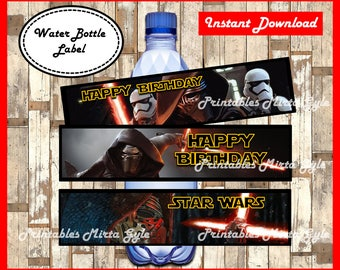 Star Wars Water Bottle Label, printable Star Wars party Water Bottle Label, Star Wars Bottle Labels