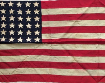 48 Star Flag, Vintage Flag, Ensign No. 11, Double sided hand sewn stars, Rare Flag