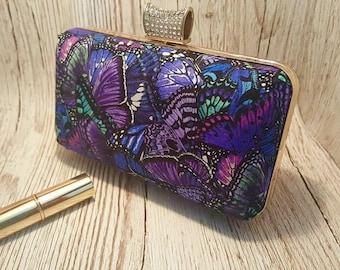Purple butterfly box clutch bag, handbag, prom, wedding