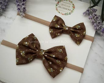 Brown little flowers Printed Hair Bow - Regular or Small - Baby headband - Girls headband - Fabric bow - Hair clip - Hair Accessories