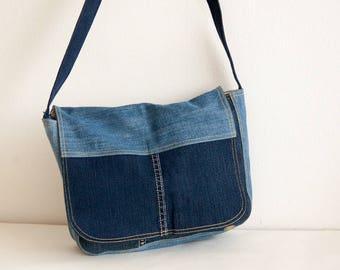 Denim jeans messenger bag with decorative stitching - repurposed denim - ready to ship!
