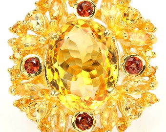 Natural 15X11 mm. Yellow Citrine & Garnet Sterling 925 Silver Ring 14K Yellow Gold Coating