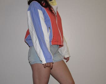 90S VINTAGE JACKET WOMENS medium pastel colorblock