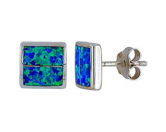 Sterling Silver Blue Opal Square Stud Earrings