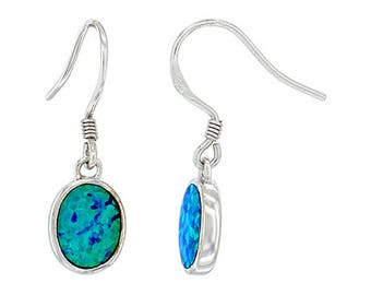 Sterling Silver Blue Opal Dangle Earrings