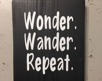 wonder wander repeat mantra travel adventure signs with quotes reclaimed wood shelf decor wood wall art quotes on wood
