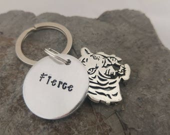 Fierce Keyring for Feisty Girls, Handstamped Tiger Keyring Keychain