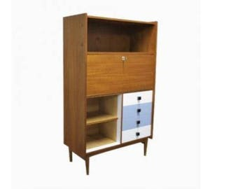 Vintage Mid-Century Wooden Cabinet in the style of Jos De Mey, 1960's Belgium - Mid-century cabinet - Coloured cabinet - Antique Cabinet