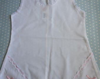 Vintage Girls Underskirt Camisole in White with Pink Detailing Age 3 - 4 years