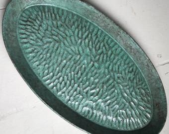 Green Textured Ceramic Serving Platter Dish Plate