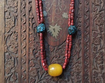 Vintage Red coral, turquoise and raw amber necklace from Tibet
