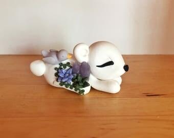 Sleepy Succulent Polar Bear - Polymer Clay Figurine - Handmade Gift **Clearance Sale Pricing**