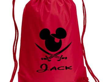 Mickey Pirate Drawstring Bag, With Personalized name, Disney Bag, Minnie  Bag, Vacation bag, Family bags, Mickey Drawstring Bag