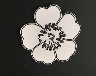 Large flower die cuts (x8) For card making, scrapbooking. Ready to be coloured and glittered for all your crafts