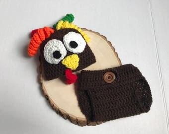Newborn turkey outfit- newborn turkey hat- baby turkey hat- photo prop- newborn photo prop- ready to ship