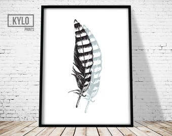 Office Decor, Wall Art, Printable Art, Feather Art, Feather Print, Home Decor, Feather Printable, Home Wall Art, Instant Download, Feather