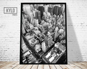New York Skyline Print, New York Photography, New York Print, Digital Print, Wall Art, Printable Art, Architecture Print, Manhattan Print