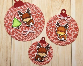 Funny Christmas ornament tags with reindeers