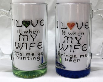 "FREE SHIPPING Hand Painted, Large, 26.5 Ounce Beer Mug ""I love my wife"""