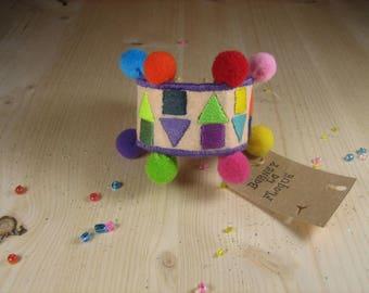 Cuff Bracelet tassels and geometric shapes