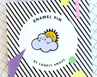 sunshine enamel pin, sun and cloud pin, sunshine hug, lapel pin, best friend, you are my sunshine, cute gift, gift for her, gift from him