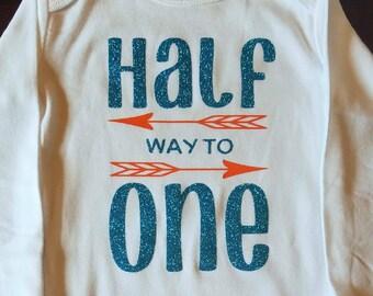 Half Way to One Onesie Size 6-12 Months