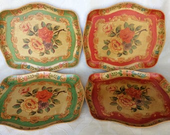 Set of 4 Vintage Laquered Papier-mâché Floral Trays Occupied Japan