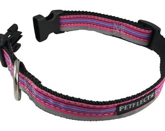 Pink Horizontal Striped Reflective Dog Collar
