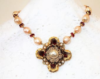 Exquisite Miriam Haskell Gilt Filigree, Baroque Glass Pearls, Red Glass Pendant and Bead Necklace